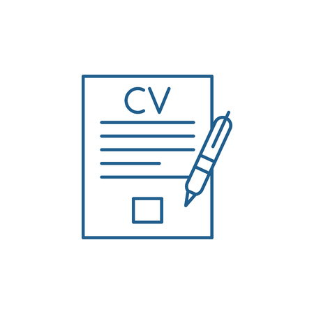 Illustration pour Writing a resume line concept icon. Writing a resume flat  vector website sign, outline symbol, illustration. - image libre de droit