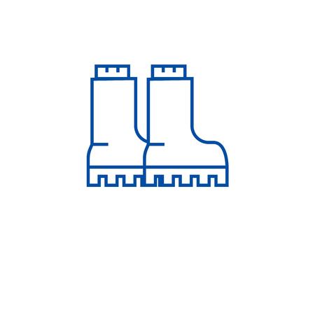 Ilustración de Hiking boots line concept icon. Hiking boots flat  vector website sign, outline symbol, illustration. - Imagen libre de derechos