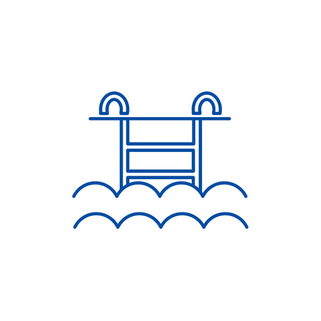Ilustración de Water pool line concept icon. Water pool flat  vector website sign, outline symbol, illustration. - Imagen libre de derechos