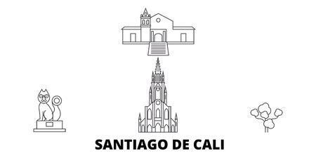 Illustration pour Colombia, Santiago De Cali line travel skyline set. Colombia, Santiago De Cali outline city vector panorama, illustration, travel sights, landmarks, streets. - image libre de droit