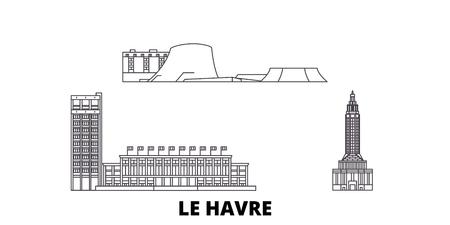Illustration pour France, Le Havre line travel skyline set. France, Le Havre outline city vector panorama, illustration, travel sights, landmarks, streets. - image libre de droit