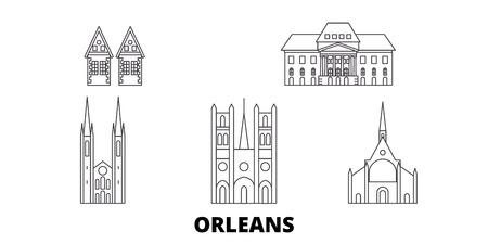 Illustration pour France, Orleans line travel skyline set. France, Orleans outline city vector panorama, illustration, travel sights, landmarks, streets. - image libre de droit