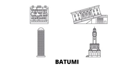 Ilustración de Georgia, Batumi line travel skyline set. Georgia, Batumi outline city vector panorama, illustration, travel sights, landmarks, streets. - Imagen libre de derechos