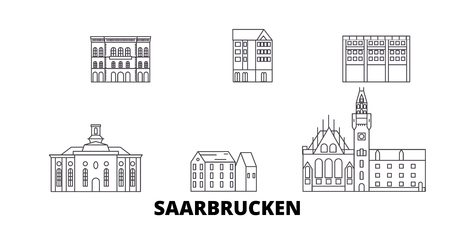 Illustration pour Germany, Saarbrucken line travel skyline set. Germany, Saarbrucken outline city vector panorama, illustration, travel sights, landmarks, streets. - image libre de droit