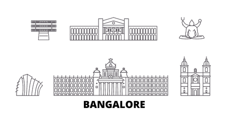 Illustration pour India, Bangalore line travel skyline set. India, Bangalore outline city vector panorama, illustration, travel sights, landmarks, streets. - image libre de droit