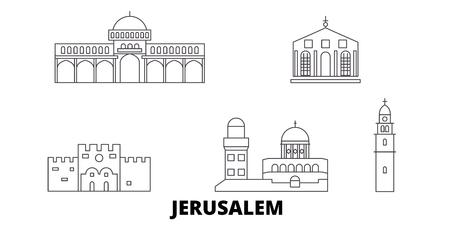 Illustration for Israel, Jerusalem line travel skyline set. Israel, Jerusalem outline city vector panorama, illustration, travel sights, landmarks, streets. - Royalty Free Image