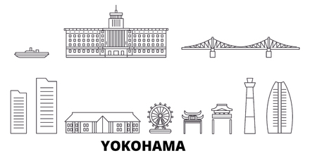 Illustration pour Japan, Yokohama line travel skyline set. Japan, Yokohama outline city vector panorama, illustration, travel sights, landmarks, streets. - image libre de droit
