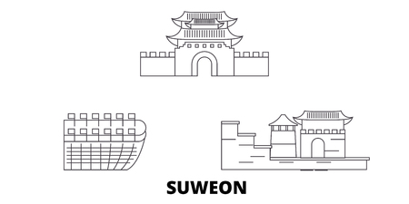 Illustration pour South Korea, Suweon line travel skyline set. South Korea, Suweon outline city vector panorama, illustration, travel sights, landmarks, streets. - image libre de droit