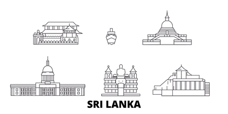 Ilustración de Sri Lanka line travel skyline set. Sri Lanka outline city vector panorama, illustration, travel sights, landmarks, streets. - Imagen libre de derechos