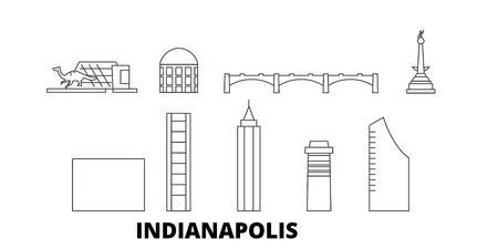 Illustration pour United States, Indianapolis  line travel skyline set. United States, Indianapolis  outline city vector panorama, illustration, travel sights, landmarks, streets. - image libre de droit