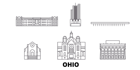 Illustration pour United States, Dayton line travel skyline set. United States, Dayton outline city vector panorama, illustration, travel sights, landmarks, streets. - image libre de droit