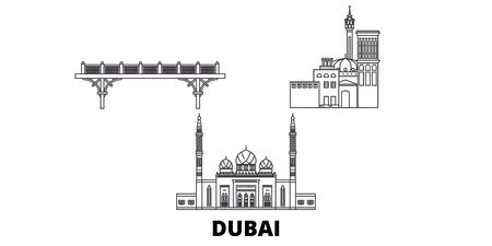 Illustration pour United Arab Emirates, Dubai line travel skyline set. United Arab Emirates, Dubai outline city vector panorama, illustration, travel sights, landmarks, streets. - image libre de droit