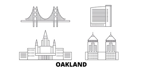 Illustration pour United States, Oakland line travel skyline set. United States, Oakland outline city vector panorama, illustration, travel sights, landmarks, streets. - image libre de droit