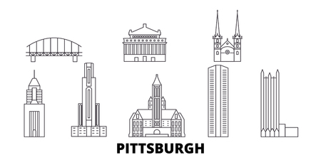 Illustration pour United States, Pittsburgh line travel skyline set. United States, Pittsburgh outline city vector panorama, illustration, travel sights, landmarks, streets. - image libre de droit