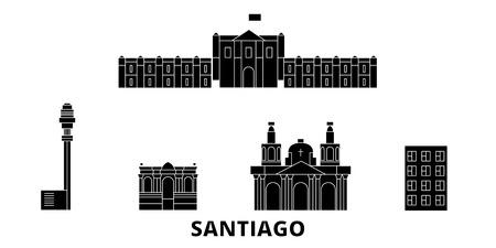Ilustración de Chile, Santiago flat travel skyline set. Chile, Santiago black city vector panorama, illustration, travel sights, landmarks, streets. - Imagen libre de derechos