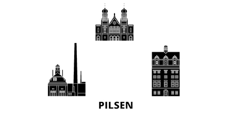 Illustration pour Czech Republic, Pilsen flat travel skyline set. Czech Republic, Pilsen black city vector panorama, illustration, travel sights, landmarks, streets. - image libre de droit