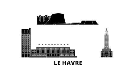 Illustration pour France, Le Havre flat travel skyline set. France, Le Havre black city vector panorama, illustration, travel sights, landmarks, streets. - image libre de droit