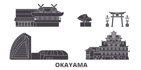 Illustration pour Japan, Okayama flat travel skyline set. Japan, Okayama black city vector panorama, illustration, travel sights, landmarks, streets. - image libre de droit