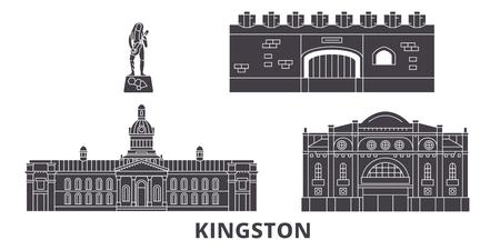 Illustration pour Jamaica, Kingston flat travel skyline set. Jamaica, Kingston black city vector panorama, illustration, travel sights, landmarks, streets. - image libre de droit