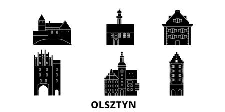 Ilustración de Poland, Olsztyn flat travel skyline set. Poland, Olsztyn black city vector panorama, illustration, travel sights, landmarks, streets. - Imagen libre de derechos