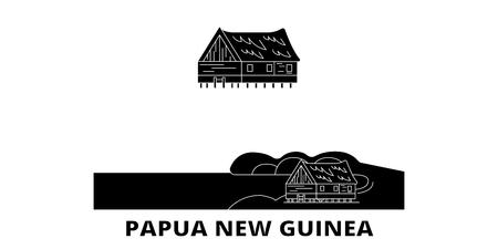 Illustration pour Papua New Guinea flat travel skyline set. Papua New Guinea black city vector panorama, illustration, travel sights, landmarks, streets. - image libre de droit