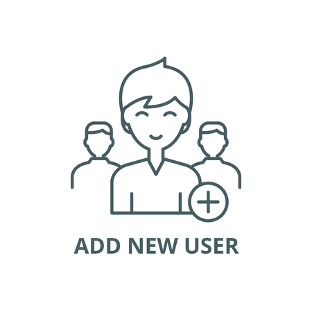 Illustration pour Add new user line icon, vector. Add new user outline sign, concept symbol, illustration - image libre de droit