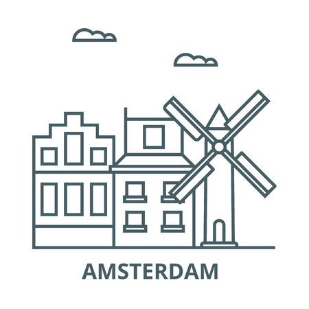 Illustration pour Amsterdam line icon, vector. Amsterdam outline sign, concept symbol, illustration - image libre de droit