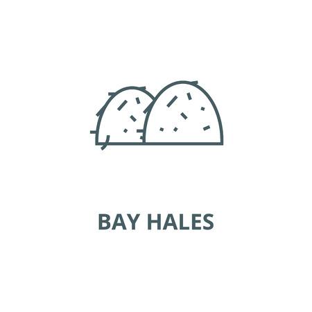 Illustration pour Bay hales line icon, vector. Bay hales outline sign, concept symbol, illustration - image libre de droit