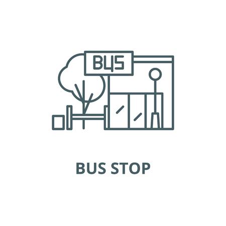 Ilustración de Bus stop line icon, vector. Bus stop outline sign, concept symbol, illustration - Imagen libre de derechos