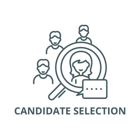 Illustration pour Candidate selection line icon, vector. Candidate selection outline sign, concept symbol, illustration - image libre de droit