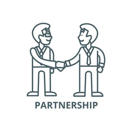 Illustration for Businessmen handshake,partnership line icon, vector. Businessmen handshake,partnership outline sign, concept symbol, illustration - Royalty Free Image