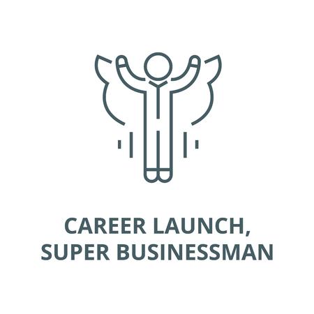 Ilustración de Career launch,super businessman line icon, vector. Career launch,super businessman outline sign, concept symbol, illustration - Imagen libre de derechos