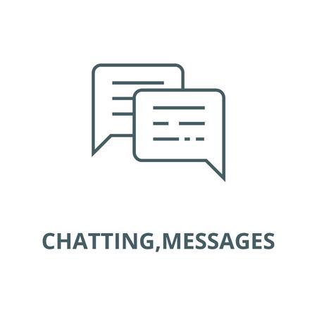 Illustration pour Chatting,messages line icon, vector. Chatting,messages outline sign, concept symbol, illustration - image libre de droit