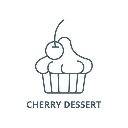 Illustration for Cherry dessert line icon, vector. Cherry dessert outline sign, concept symbol, illustration - Royalty Free Image