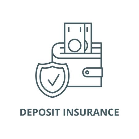 Illustration pour Deposit insurance line icon, vector. Deposit insurance outline sign, concept symbol, illustration - image libre de droit