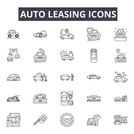 Illustration pour Auto leasing line icons, signs set, vector. Auto leasing outline concept illustration: car,auto,automobile,business,sale,concept,vehicle,buy - image libre de droit