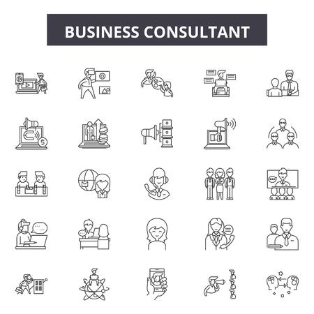 Ilustración de Business consultant line icons, signs set, vector. Business consultant outline concept illustration: business,consulting,strategy,team,support,service,teamwork - Imagen libre de derechos