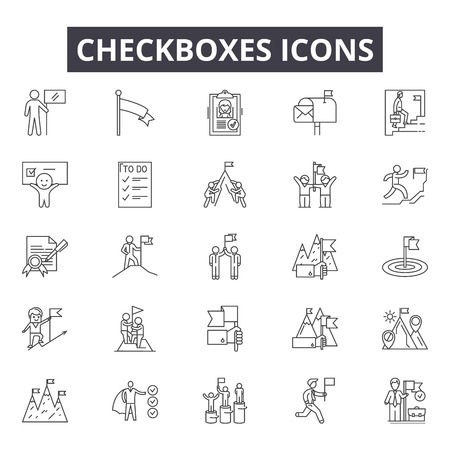 Illustration pour Checkboxes line icons, signs set, vector. Checkboxes outline concept illustration: checkbox,tick,check,yes,mark,correct,choice - image libre de droit