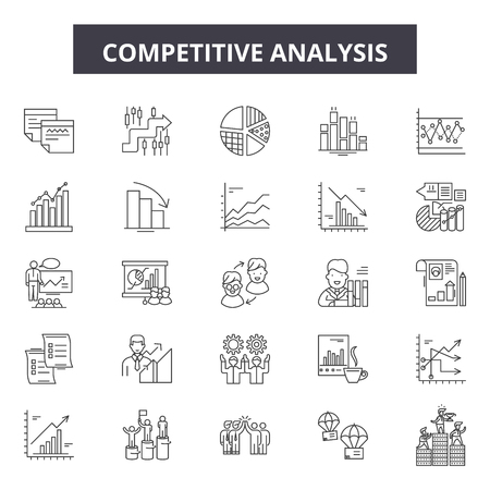 Ilustración de Competitive analysis line icons, signs set, vector. Competitive analysis outline concept illustration: analysis,strategy,business,solution,marketing,success,competition,management,target - Imagen libre de derechos