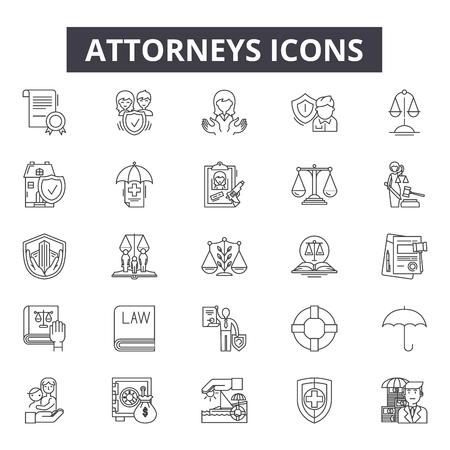 Illustration pour Attorneys line icons, signs set, vector. Attorneys outline concept illustration: law,attorney,court,lawyer,justice,judge,legal,crime - image libre de droit