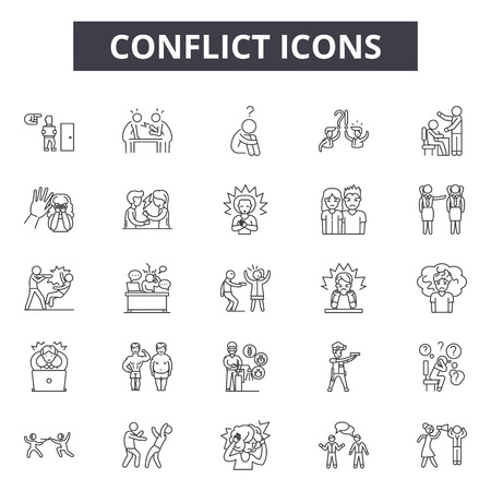 Ilustración de Conflict line icons, signs set, vector. Conflict outline concept illustration: conflict,business,people,deflat - Imagen libre de derechos