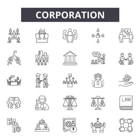 Illustration for Corporation line icons, signs set, vector. Corporation outline concept illustration: business,corporate,team,management,teamwork - Royalty Free Image