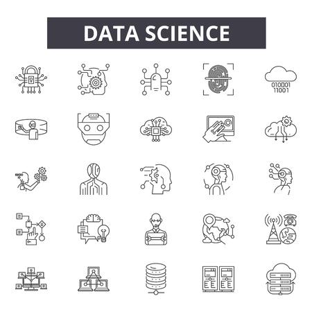Ilustración de Data science line icons, signs set, vector. Data science outline concept illustration: science,technology,data,information,graphic,web - Imagen libre de derechos