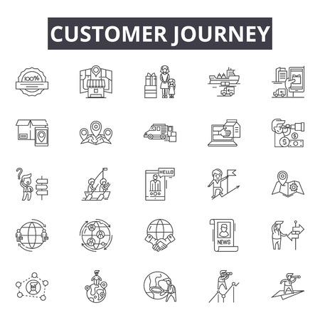 Illustration pour Customer journey line icons, signs set, vector. Customer journey outline concept illustration: journey,customer,business,marketing,concept,digital - image libre de droit