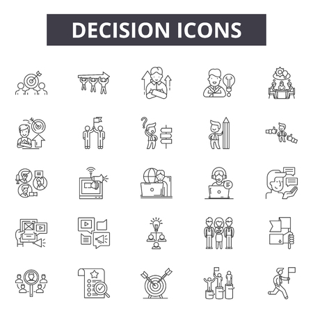 Illustrazione per Decision line icons, signs set, vector. Decision outline concept illustration: decision,business,direction,choice,way,solution - Immagini Royalty Free