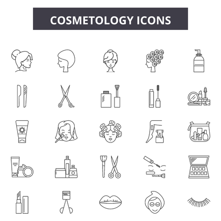 Illustration pour Cosmetology line icons, signs set, vector. Cosmetology outline concept illustration: cosmetology,care,beauty,face,skin,cosmetic,woman,girl - image libre de droit