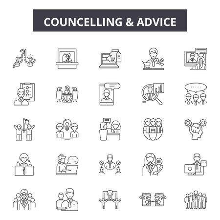 Ilustración de Councelling line icons, signs set, vector. Councelling outline concept illustration: man,people,councelling,person,couple,woman,hug - Imagen libre de derechos