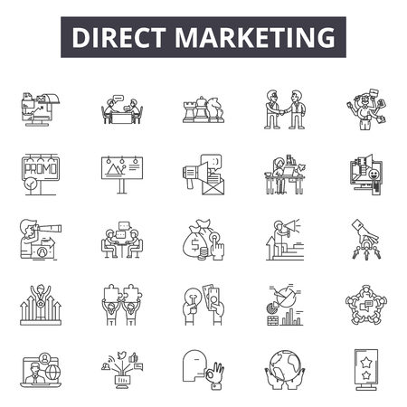 Illustration for Direct marketing line icons, signs set, vector. Direct marketing outline concept illustration: marketing,business,target,email,mobile,direct - Royalty Free Image