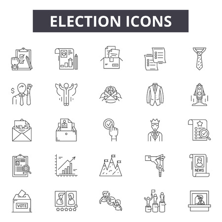 Illustration pour Election line icons, signs set, vector. Election outline concept illustration: government,election,ballot,political,voting,voter,politics,president,vote,box - image libre de droit