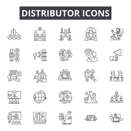 Ilustración de Distributor line icons, signs set, vector. Distributor outline concept illustration: distributor,delivery,distribution,flat,network,black,structure - Imagen libre de derechos